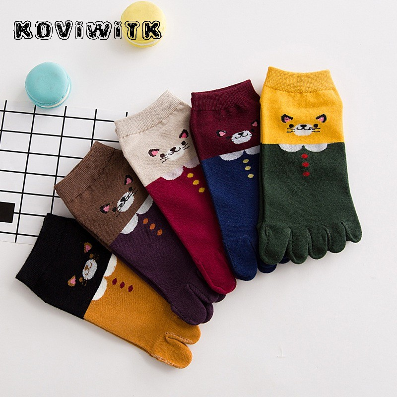 Ankle Toes No Show Socks Boat Invisible Five Fingers Toe Funny New Cartoon Cotton Animal Sock Womens Harajuku Kawaii Casual Sox