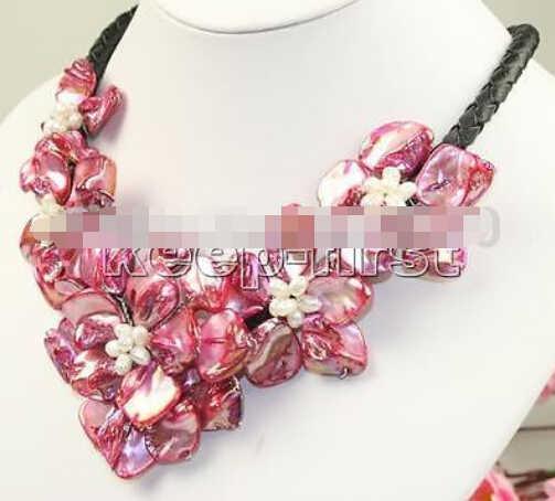 1004 + + + 18 pollici fatti a mano cinque fiore shell collana di perle rosso di charme