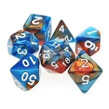 7 PC Polyhedral RPG Würfel Set Zwillinge Farbe Blau & Kupfer (d4 d6 d8 d10 d % d12 & d20) für DND D & D Rollen Spiele