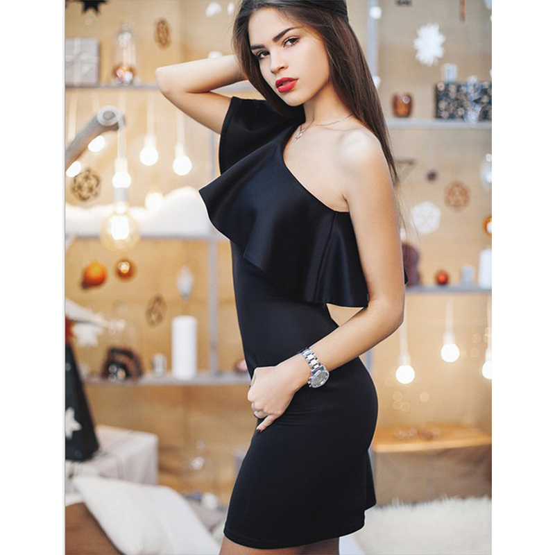 2019 <font><b>Sexy</b></font> Women Mini <font><b>Dress</b></font> Sleeveless Off Shoulder <font><b>Bodycon</b></font> <font><b>Dresses</b></font> Fashion Summer Ruffles <font><b>Blue</b></font> Red Party <font><b>Dress</b></font> Vestidos image