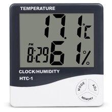 Lcd digital medidor de umidade temperatura HTC-1 HTC-2 casa interior ao ar livre higrômetro termômetro estação meteorológica com relógio