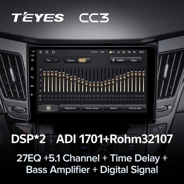 TEYES CC3 Штатная магнитола For Хендай Соната For Hyundai Sonata 6 YF 2009 - 2014 до 8-ЯДЕР, до 6 + 128ГБ 27EQ + DSP carplay автомагнитола 2 DIN DVD GPS android 10 мультимедиа автомобиля головное устройство 4