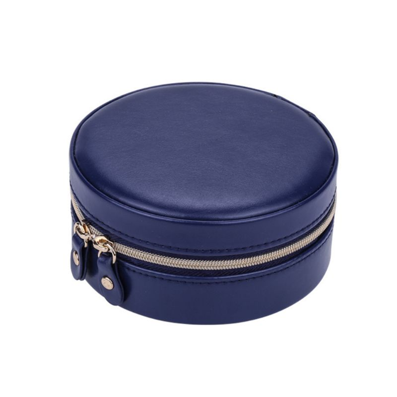Portable Round Jewelry Box Faux Leather Jewellery