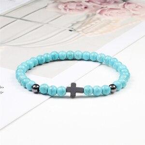 Image 4 - Hot 6MM Natural Stone Beads Prayer Bracelet Meditation Hematite Cross Jesus Bracelets Bangles For Men Women Jewelry Gift Pulsera