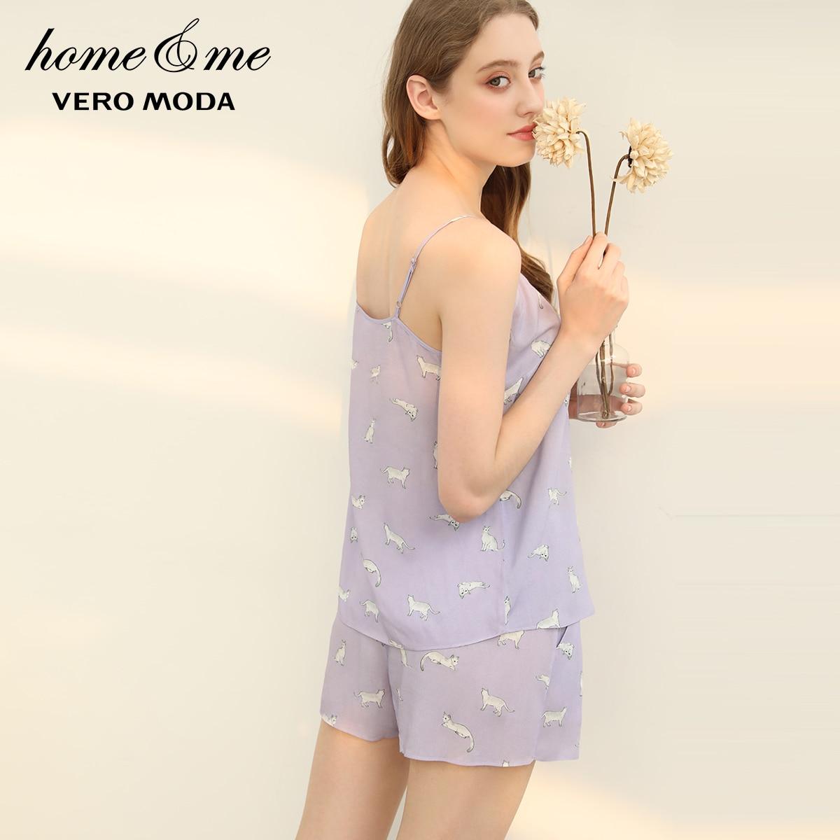 Image 3 - Vero Moda 2019 New Arrivals Cat Print Sun top Leisure Homewear Pajamas Set   3192TC505-in Pajama Sets from Underwear & Sleepwears