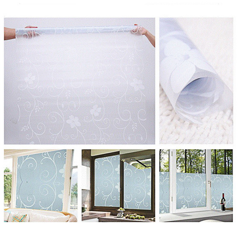 Self Adhesive Film Waterproof PVC Frosted Glass Opaque Window Privacy Film Sticker Bedroom Bathroom Home Decor Film 45x100cm