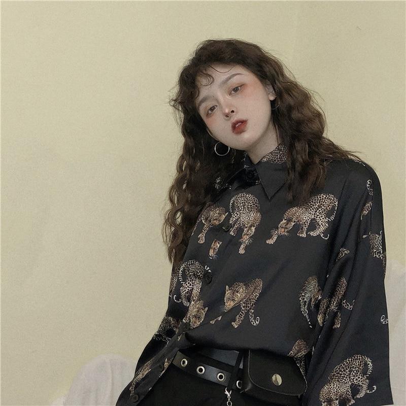 Woherb Vintage Leopard เสื้อผู้หญิง Harajuku สัตว์พิมพ์เสื้อ2021ผู้หญิงฤดูร้อนหลวม Blusa Streetwear Camisas Mujer 21976