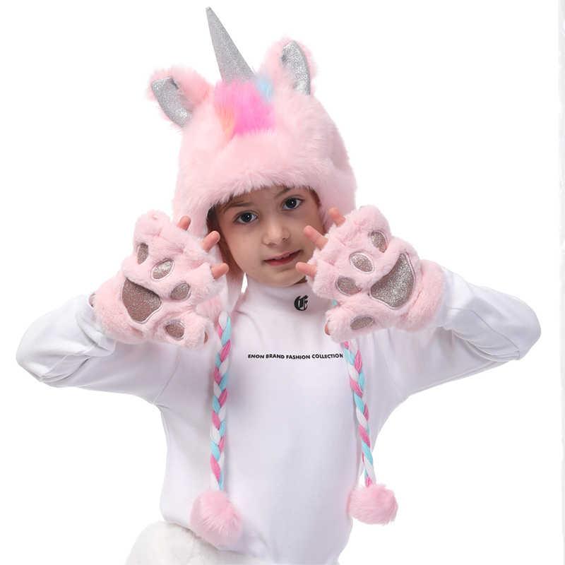 Единорог зимняя шапка перчатки лапы Единорог Рождественский подарок для девочек зимние шляпы из искусственного меха перчатки Набор для шапочки Косплей фотография