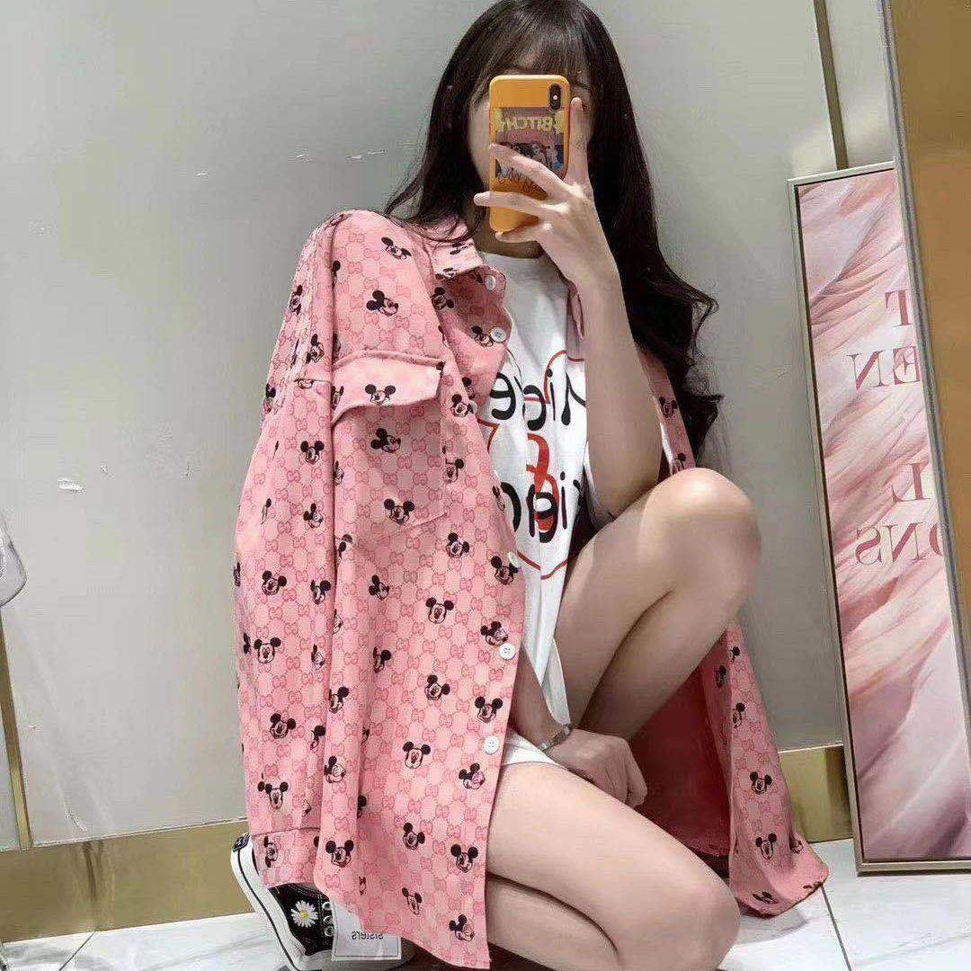 Pink Cartoon Mickey Print Spring Blouses Women Turn Down Collar Long Sleeve Single Breasted Loose Vintage Harajuku Tops 2020 New|Blouses & Shirts| - AliExpress