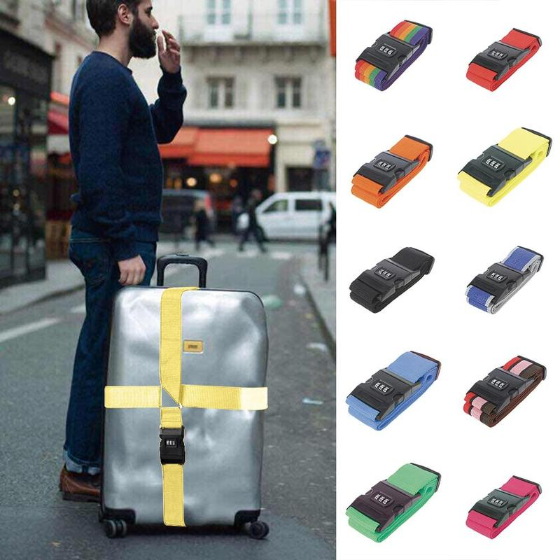 10 Colors Adjustable Safety Belt Three Digit Combination Lock For Travel Luggage Suitcase Band Packing Blet Strap Accessories