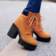 Buy Suede Strappy Round Toe High Heel Boots 2019 Women Fashion Casual Winter Snow Boot Platforms Short Ankle Shoes Botas Korean directly from merchant!