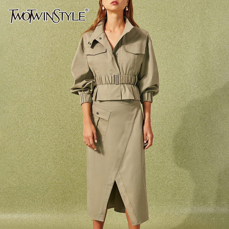 TWOTWINSTYLE Ruffle Vintage Two Piece Set For Women Lapel Collar Long Sleeve Female Suits 2019 Autumn Oversized Fashion New