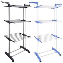 Folding Drying Rack 3 Tiers Clothes Hangers Laundry Cloth Shoes Hanger with Wheels