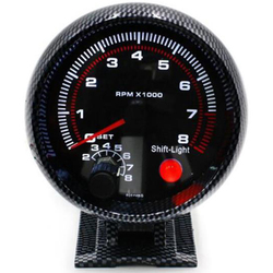 3.75 inch tach 95mm Racing Car 0-8000 RPM Meter Carbon Tachometer Gauge With Shift Light Auto motorcycle Car Meter inter digital