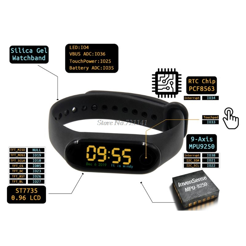 T-Wristband DIY Programmable Smart Bracelet <font><b>ESP32</b></font>-<font><b>PICO</b></font>-<font><b>D4</b></font> Main Chip 0.96 Inch IPS Screen Silicone Bracelet Strap Dropship image