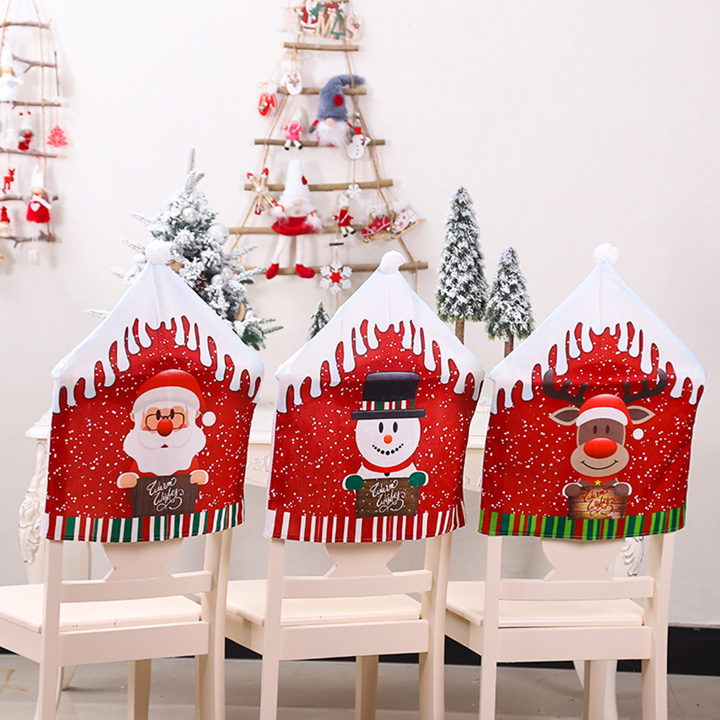 Christmas Santa Claus Hat Chair Covers Chair Back Cover Xmas Holiday Decoration