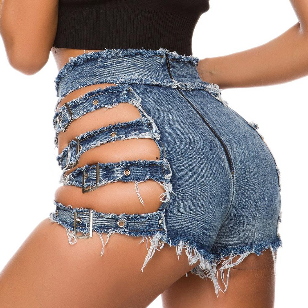 Sexy Hollow Out Women Shorts Buckle Straps Club Style High Waist Back Open Zipper Fly Tassel Short Jeans Drop Shipping