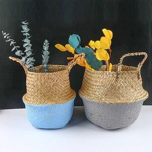 Image 2 - Handmadeไม้ไผ่ตะกร้าซักผ้าพับได้Straw PatchworkหวายSeagrass Bellyสวนดอกไม้หม้อPlanterตะกร้า