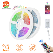 RGB LED Strip Lights Bluetooth SMD 5050 Smart Timing LED Rope Light Strips Kits with 44 Key RF Remote Controller 12V 5A Adapter