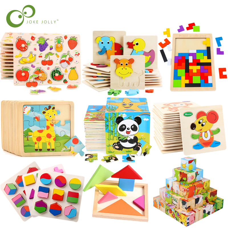 Kid Early Educational Toys Baby Hand Grasp Wooden Puzzle Toy Shape Color Animal Learning Education Child Wood Toy GYH 1