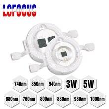 Chip LED infrarrojo IR de alta potencia, 3W, 5W, 680nm, 740nm, 800nm, 850nm, 880nm, 940nm, lámpara de diodo emisor de luz para cámara de visión nocturna