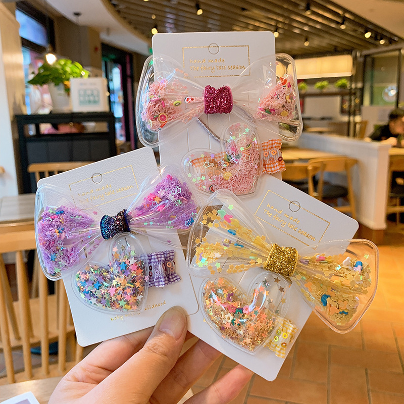 Lovely Shine Candy Color Hairpins Hair Clip Rainbow Bow Hair Clip For Girl Kids Children Duckbill Hairpin Color