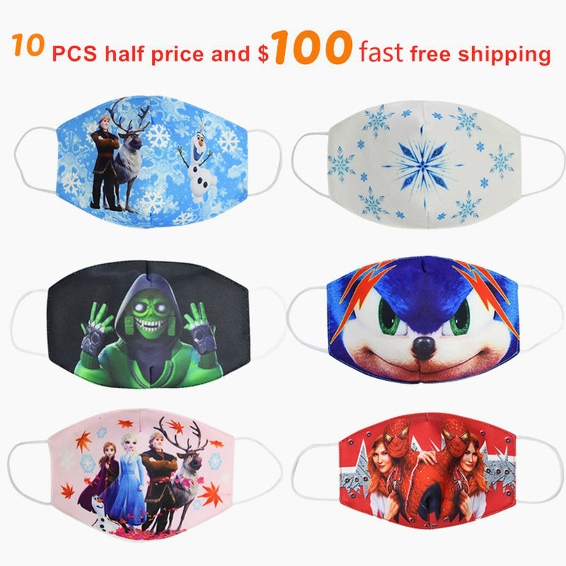 Hot Sale 2020 MEZMER Cartoon Maska Dustproof Mouth Face Mask Kid Cartoon Cover Fashion Muffle Face Mouth Masks For Children Game