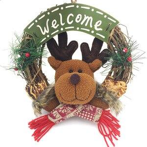Деревянная Рождественская гирлянда, венок, Декор, Настенная подвесная дверь, Санта-Клаус, лось, снеговик, украшения, Рождественский кулон, домашний декор