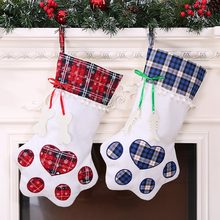 20*45cm Plaid Christmas Stocking New Year Gift Bag For Pet Dog Cat Christmas Goods Xmas Tree Hanging Ornaments Navidad(China)