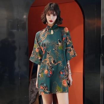 Vestido de fiesta chino tradicional de Hanfu Qi Pao para mujer, Cheongsam Retro, estilo Harajuku japonés, Vintage, carpa, grúa, impreso, Qipao