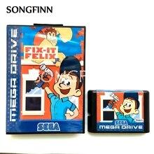 16 bit MD hafıza kartı kutusu Sega Mega sürücü Genesis için Megadrive Fix It Felix Jr