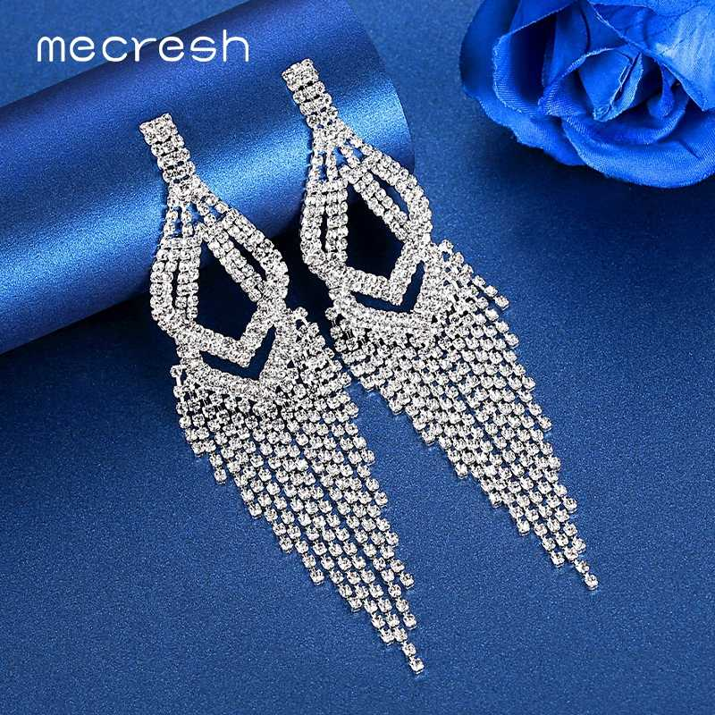 Mecresh Statement Rhinestone Big Long Tassel Drop Earrings for Women Silver Color Double Layer Bridal Fringe Earrings MEH1638