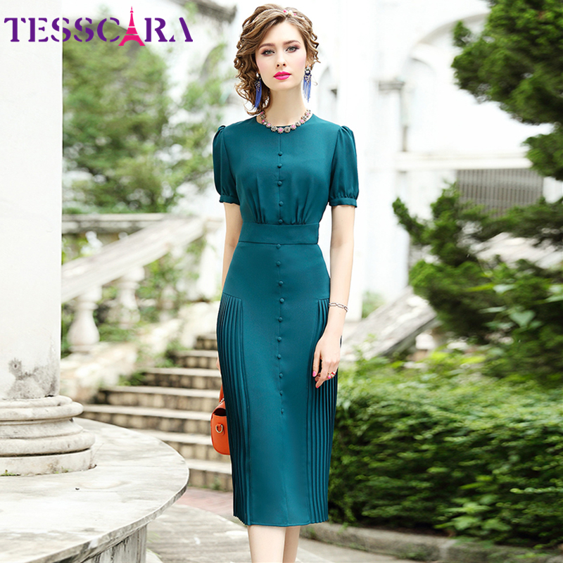 TESSCARA Women Summer Elegant Dress Female Eleg Office Lady Robe Femme Vintage Designer High Quality Long Even Parti Vestidos