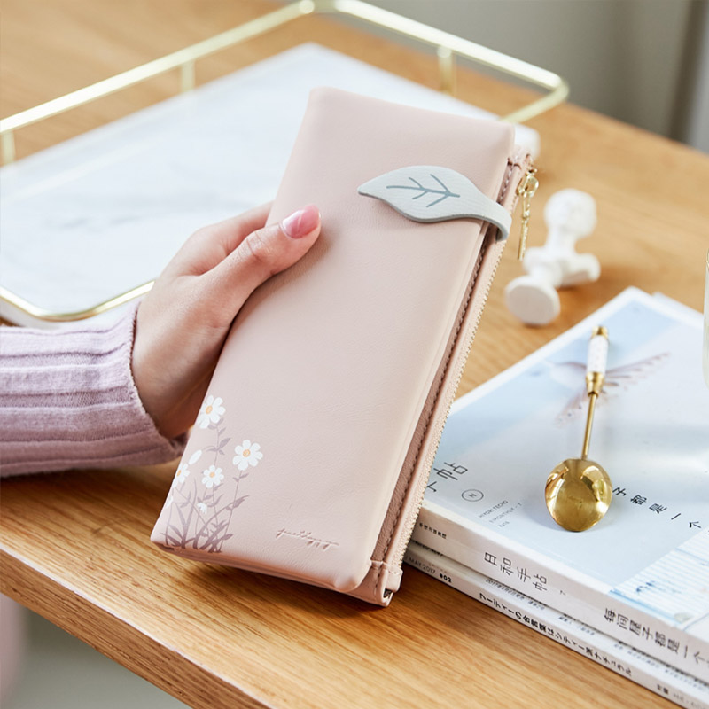 Fashion Women Long Wallet Leaf Pattern Hasp Ladies Purse Soft Pu Leather Multifunction Wallets Female Zipper Coin Purse