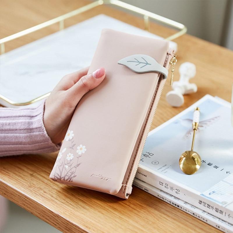 Fashion Women Long Wallet Leaf Pattern Hasp Ladies Purse Soft Pu Leather Multifunction Wallets Female Zipper Coin Purse