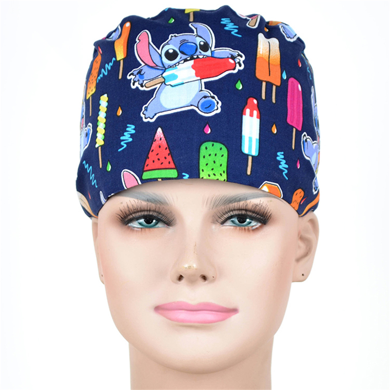 Ice Cream Surgical Nurse Caps Navy Medical Work Cap Tieback Skull Hats 100% Cotton With Sweatband Veterinary Doctor Caps