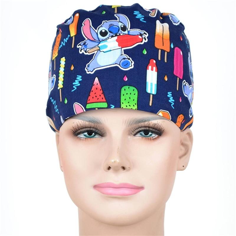 Ice Cream Surgical Nurse Caps Navy Medical Work Cap Tieback Skull Hats 100% Cotton With Sweatband Veterinary Doctor Caps