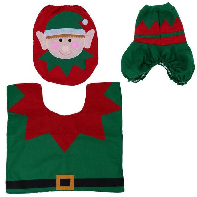 3Pcs/set Christmas Santa Toilet Seat Cover Anti-Slip Bathroom Mat Toliet Rug Christmas Decoration for Home New Year Mat 31