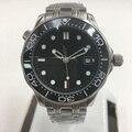 007 schwarz Zifferblatt Automatische Mechanische Uhr Männer Keramik Lünette Datum Wasserdicht Leucht Edelstahl solide Armreif 43mm Uhr