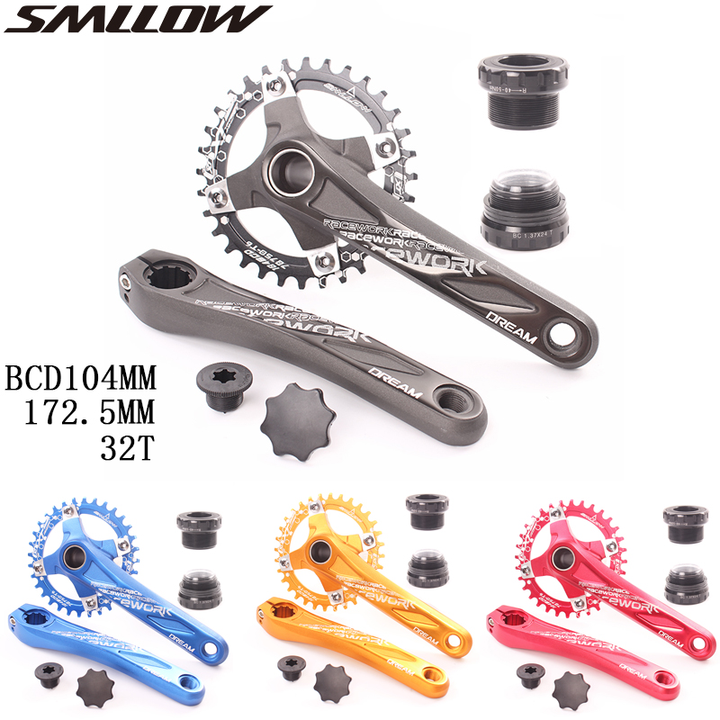 SMLLOW bicycle crank 104BCD MTB Bike Crankset Aluminum Alloy With Bottom Bicycle Crankset 172.5mm 32T plate|Bicycle Crank & Chainwheel| |  -