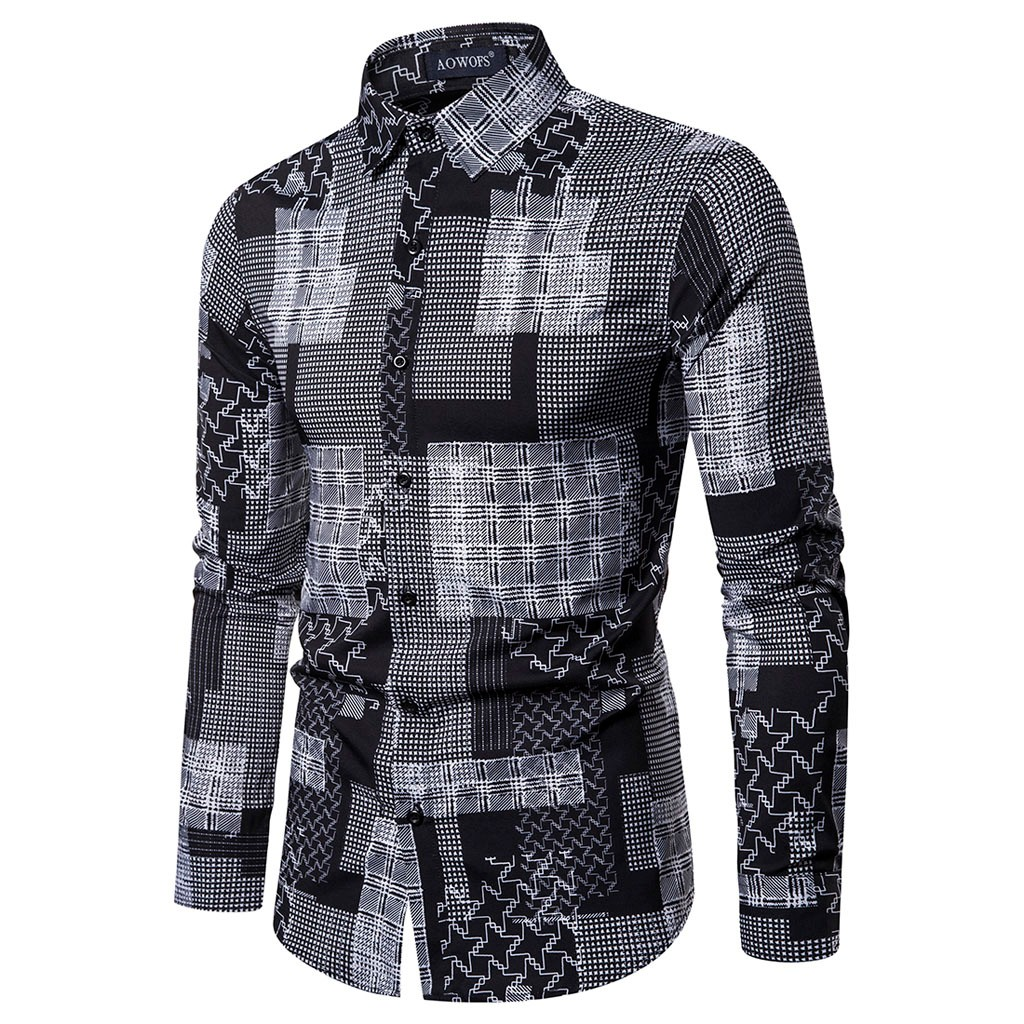 Mens Ethnic Style Vintage Printing Slim Long Sleeve Dress Shirt Blouse Tops Dropshipping Low Price Discount Woman Man Style