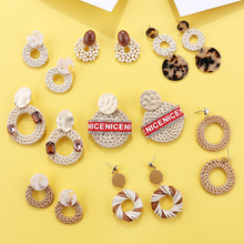 Flashbuy 2019 Newest Korean Bamboo Handmade Woven Hollow Long Earrings For Women Fashion Wooden Rattan Braid Round Drop