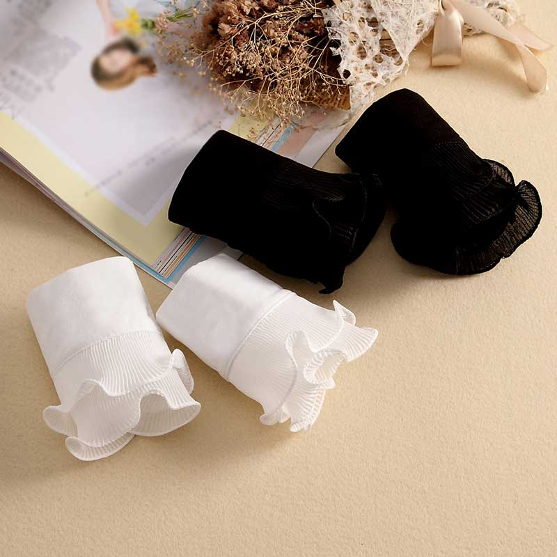 1Pair Detachable Shirt Pleated Flare Sleeve False Cuffs Solid Color Pleated Layered Decorative Women Clothing Accessories