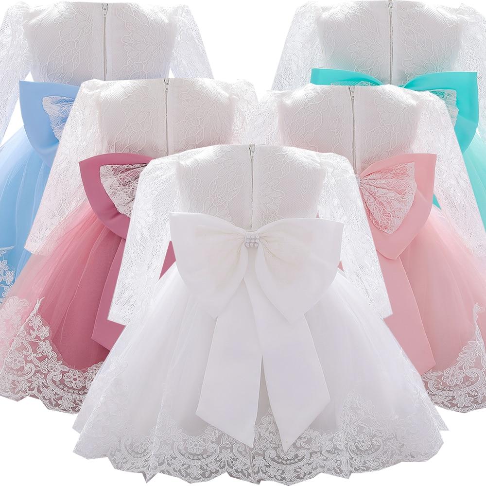 Recém-nascido de manga longa vestidos da menina do bebê festa de casamento menina laço grande arco vestidos infantil menina 1st aniversário princesa batismo vestido