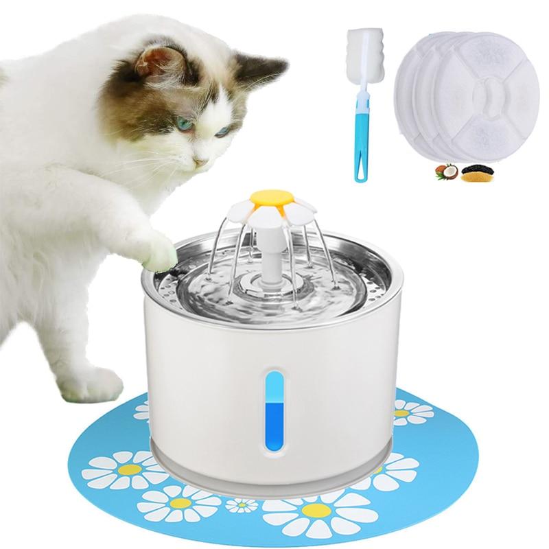 Автоматический питьевой фонтанчик для домашних животных, бесшумная поилка для собак и кошек, USB LED, 2,4 л