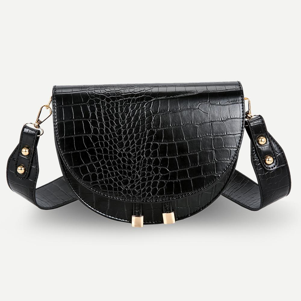 Retro Handbag Women Crocodile Leather Shopping Totes Retro Crossbody Handbags Women Semicircle Small PU Leather Shoulder Bag