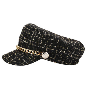 2019 New women hats Tweed plaid newsboy caps chain flat top visor cap vintage plaid military cap female autumn winter hats #A