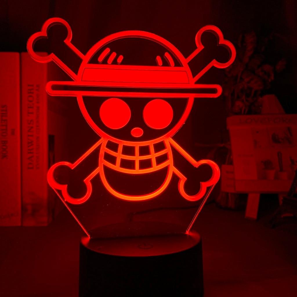 Luz de noche para niños, logotipo de ONE PIECE de Anime Led, Sensor táctil, luz nocturna cambiante de Color para niños, decoración de dormitorio, la mejor lámpara de mesa 3d de regalo