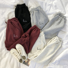 Pants Ladies 2020 Autumn and Winter Women Harem Pants Stripes Embroidery Gray Black Fleece Pants Bottom Loose Casual Trousers