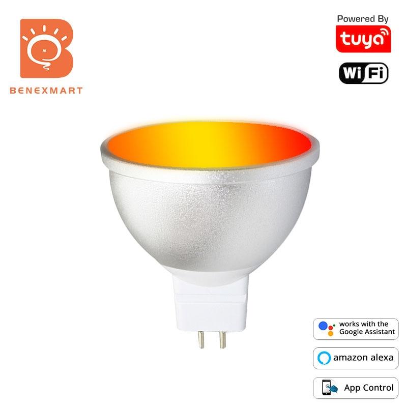 Benexmart MR16 12V Led-lampen RGBW Smart Gu 5,3 WiFi Dimmer Lampe Tuya Alexa Google Home 5W Anstrahlung timer Farbwechsel